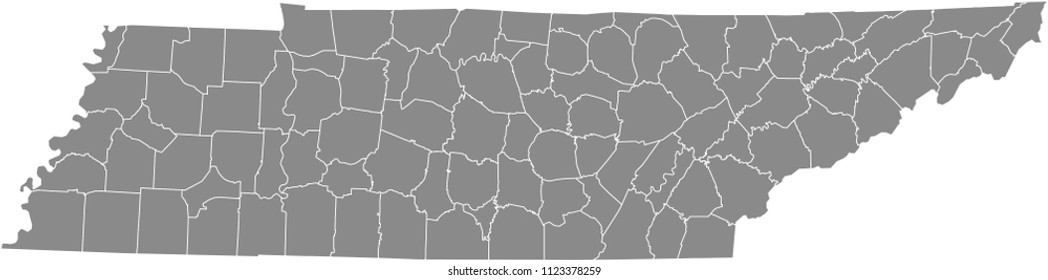 Tennessee counties map vector outline gray background