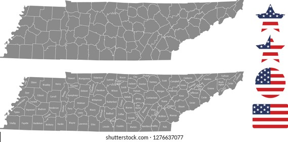 Tennessee county map vector outline in gray background. Tennessee state of USA map with counties names labeled and United States flag icon vector illustration designs