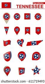 Tennessee Flag Collection. Big set for design. Vector Illustration.