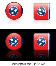 Tennessee Flag Icon on Internet Button Original Vector Illustration AI8 Compatible