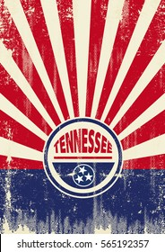 Tennessee Flag Retro sunbeams background. A vintage Tennessee poster with sunbeams and a a texture for your advertising