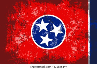 Tennessee grunge, old, scratched style flag