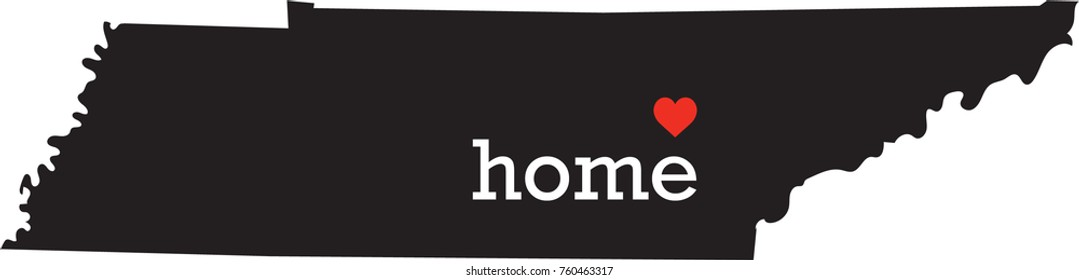 Tennessee home state - black state map with Home written in white serif text with a red heart. Isolated on white background