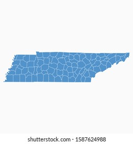 Tennessee map blue color. USA state Tennessee map icon. Tennessee vector modern map. Vector illustration EPS10