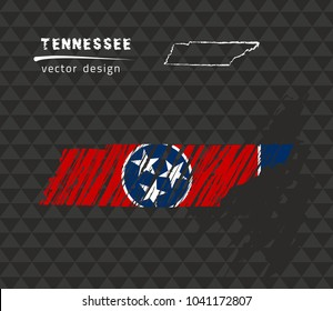 Tennessee map with flag inside on the black background. Chalk sketch vector illustration