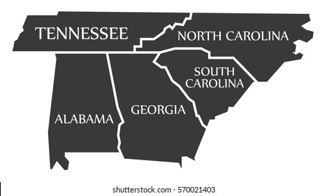 Tennessee - North Carolina - Alabama - Georgia - South Carolina labelled black illustration