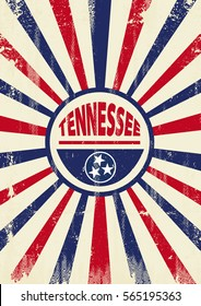 Tennessee retro sunbeams poster. A vintage Tennessee poster with sunbeams and a a texture for your advertising