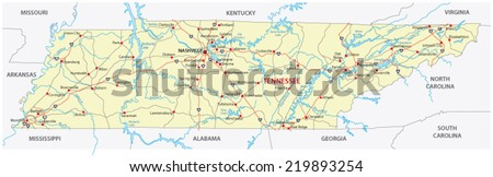 Tennessee Road Map Stock Vector (Royalty Free) 219893254 - Shutterstock