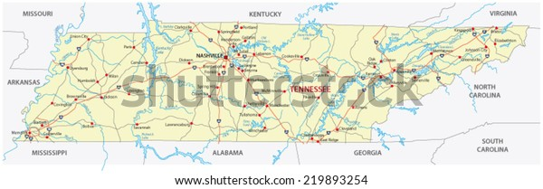 Tennessee Road Map Stock Vector (Royalty Free) 219893254