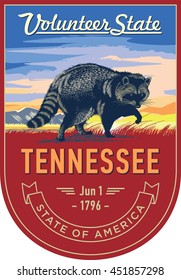 Tennessee state emblem, Raccoon, sunrise on a red background