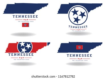 Tennessee state map with flag and nickname The Volunteer State, Vector EPS 10.