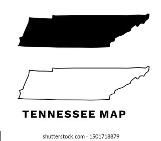 Tennessee State Map Vector Silhouette and Outline Isolated on White Background