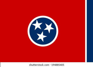 Tennessee state vector flag of America, isolated on white background.