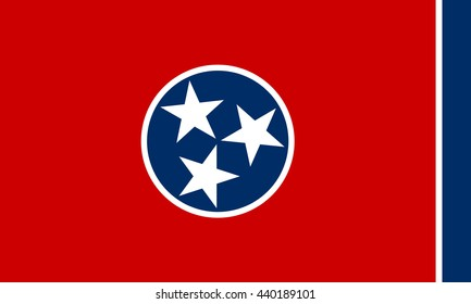 Tennessee state vector flag of America. Proportion 3:5. EPS10.