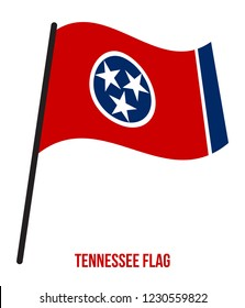 Tennessee (U.S. State) Flag Waving Vector Illustration on White Background. Flag of the United States of America.