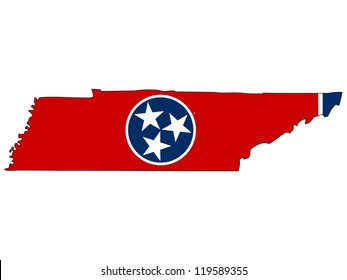 Tennessee vector map with the flag inside.