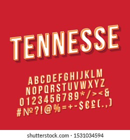 Tennessee vintage vector lettering. Retro bold font, typeface. Pop art stylized text. Old school style letters numbers, symbols, elements pack. 90s poster typography design. Red color background