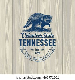 Tennessee, Volunteer State, stylized emblem of the state of America, raccoon, on wooden background
