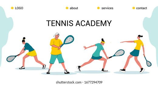 tennis Academy, summer tennis camp.the concept of Junior sports training.Site template for the Home page or app.Girls with rackets and a ball in different poses.flat design vector illustration.