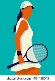 Tennis. Art poster. Vector illustration.
