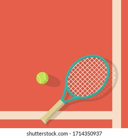 tennis background ball and racket vector image.