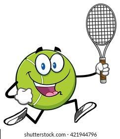 Tennis Ball Cartoon Character Running With Racket. Vector Illustration Isolated On White