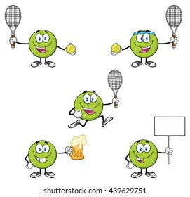 Tennis Ball Cartoon Mascot Character. Vector Illustration Isolated On White Background Collection Set 5