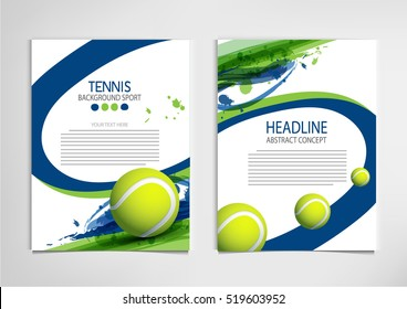 Tennis ball championship or tournament poster or label vector design.
