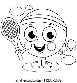 Tennis ball character playing tennis. Vector black and white coloring page.