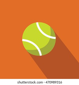 a Tennis ball flat design On the field illustration isolated in a orange background