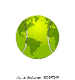 Tennis ball as a Globe of the World. Vector illustration, isolated on white background