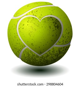 Tennis Ball with a Heart Imprint, Vector Illustration isolated on White Background.