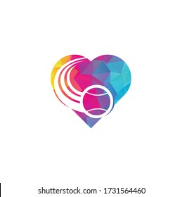 Tennis ball heart shape concept logo. Tennis logo design.