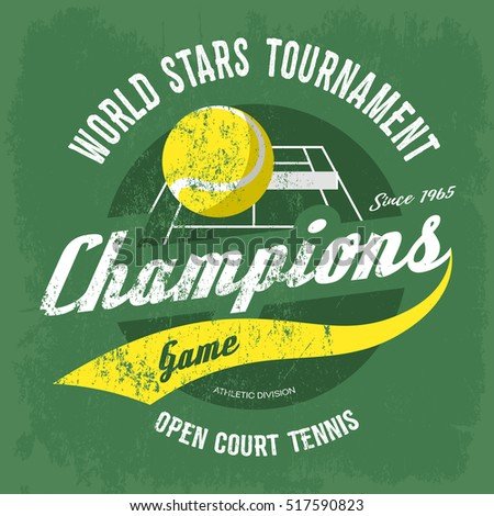 ed860958f20a Tennis ball over court with net for t-shirt print. Sport gear banner or  sportswear logo