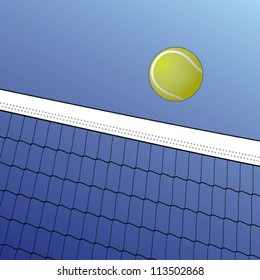 Tennis Ball Over Net is an illustration of a tennis ball flying over a net on a background of blue sky.