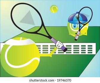 tennis ball play tennis vector