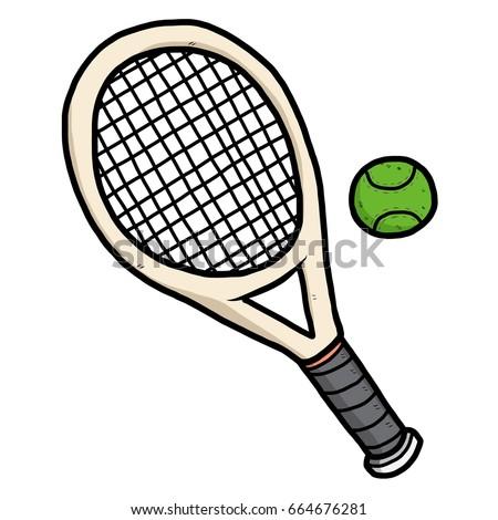 Tennis Ball Racket Cartoon Vector Illustration Stock Vector Royalty