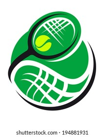 Tennis ball and racquet icon with a green ball and swirling superimposed racquet conceptual of sport, exercise and fitness design