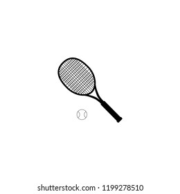Tennis ball and tennis racquet, vector illustration. Tennis design over white background vector illustration. Sports, fitness, activity vector design.