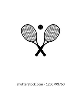 Tennis ball and tennis racquets, vector illustration. Tennis design over white background vector illustration. Sports, fitness, activity vector design.