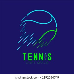 Tennis ball rushing logo icon outline stroke set dash line design illustration isolated on dark blue background with Tennis text and copy space, vector eps 10