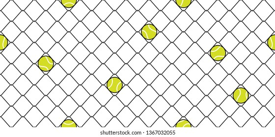 tennis ball Seamless pattern vector sport wire mesh chain link fence scarf isolated repeat wallpaper tile background