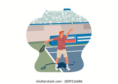 Tennis Ball Service Pose. Set, sportsman uniform. Shot, match pose competition. Man and racket. Athlete character illustration - Shutterstock ID 1839116686