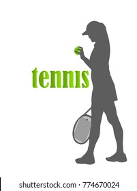 tennis. tennis ball and silhouette of woman or girl. vector. isolated