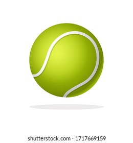 Tennis ball sport equipment in trendy flat style isolated on white background.