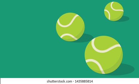 Tennis ball vector. Tennis ball in the field. wallpaper. free space for text. copy space.