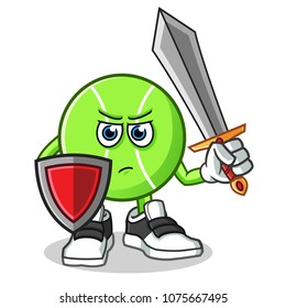 tennis ball warior holding sword and shield mascot vector cartoon illustration