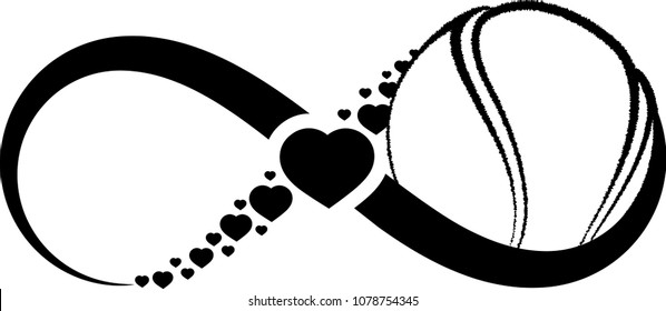 Baseball Wrapped Infinity Symbol Hearts Through Stock Vector