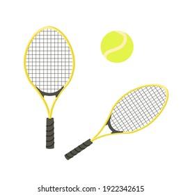 Tennis balls and tennis rackets, vector illustration. Yellow tennis balls. Tennis design over white background vector illustration. Sport, fitness, activity vector design.