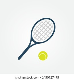 Tennis balls and tennis racquet, vector illustration. Yellow tennis balls. Tennis logo design template